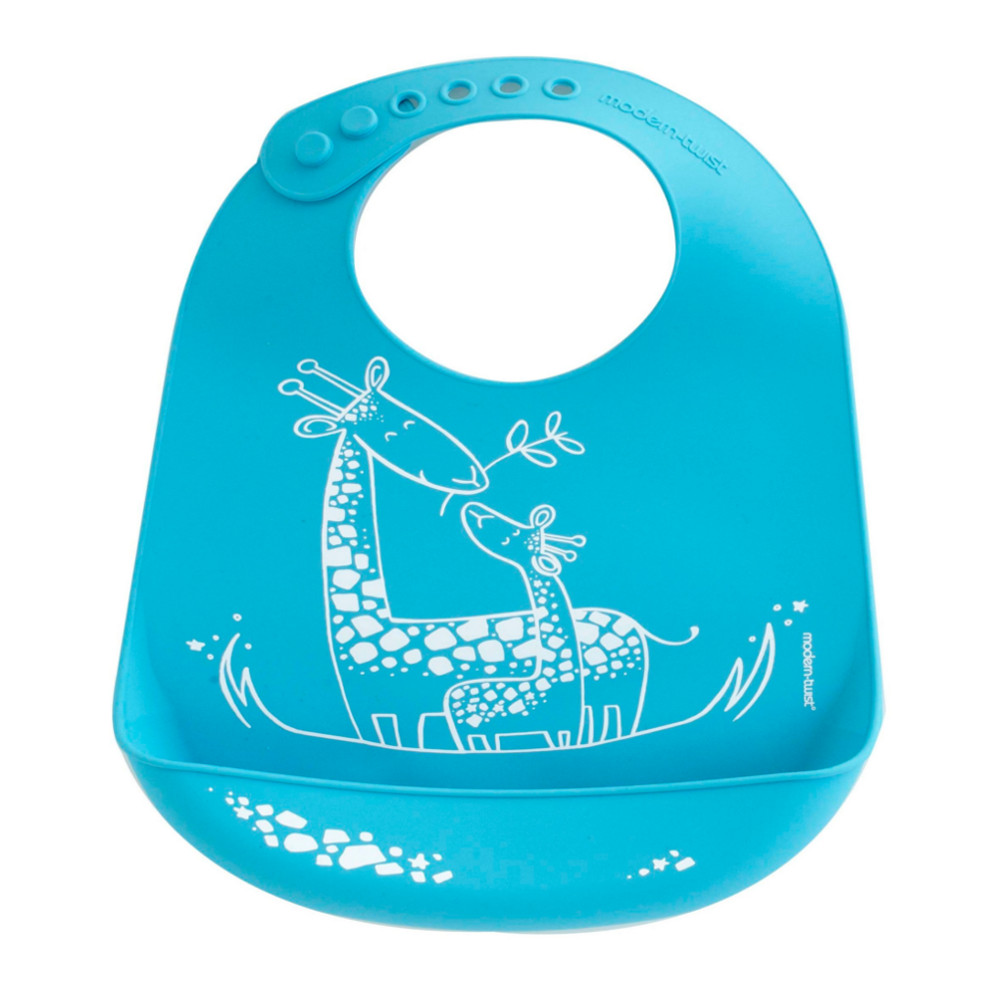 Modern Twist Giraffe Giggles Blue Silicone Bucket Bib