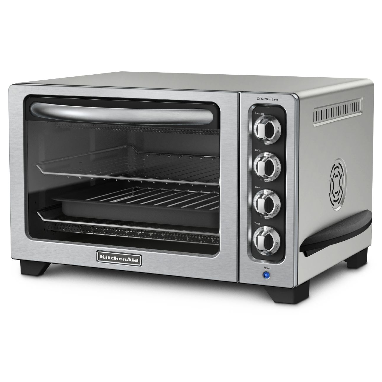 KitchenAid Contour Silver Convection Countertop Oven with Black Handle
