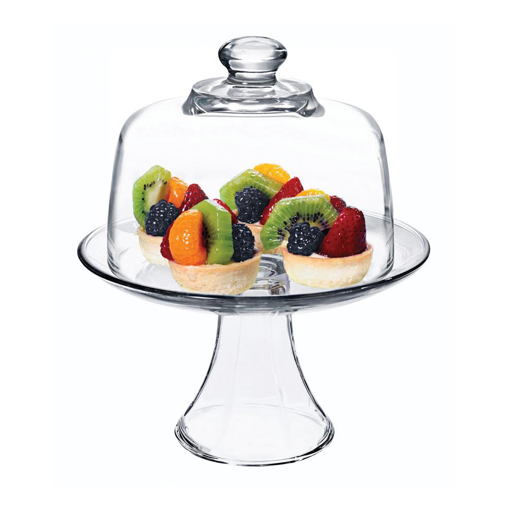 Anchor Hocking Presence Glass Single Tiered Round Platter with Dome