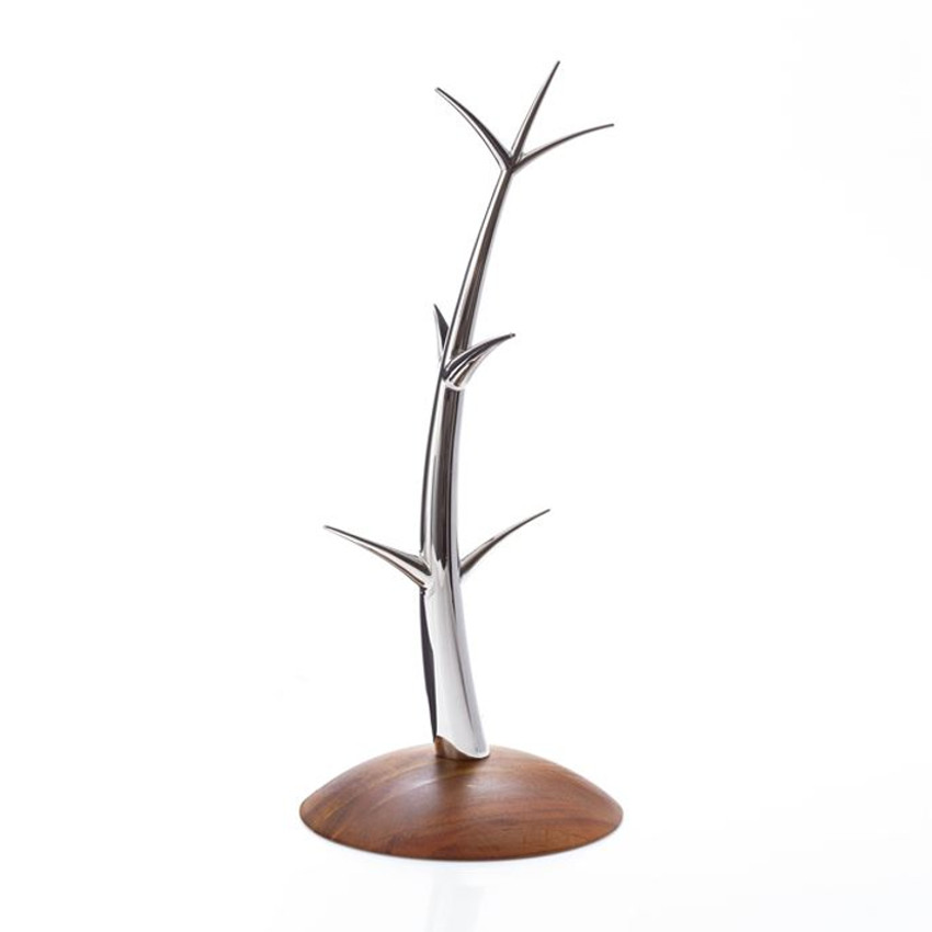 "Sway Mug Tree, 6.75"" D x 16.5"" H, Wood / Stainless Steel"