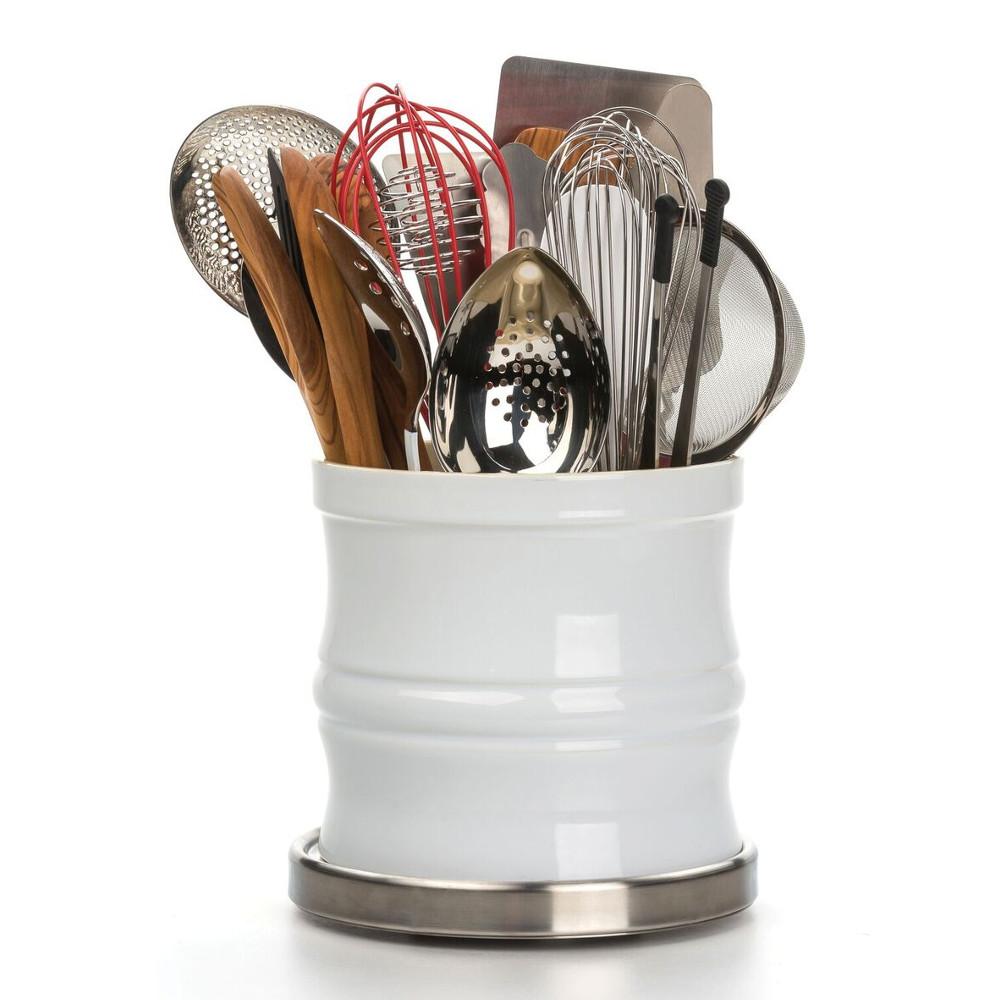 Endurance Tool Crock Turntable With Oversized Tool Crock – White
