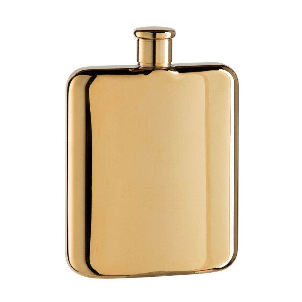 TITANIUM PLATED STAINLESS STEEL HIP FLASK (6 OZ)