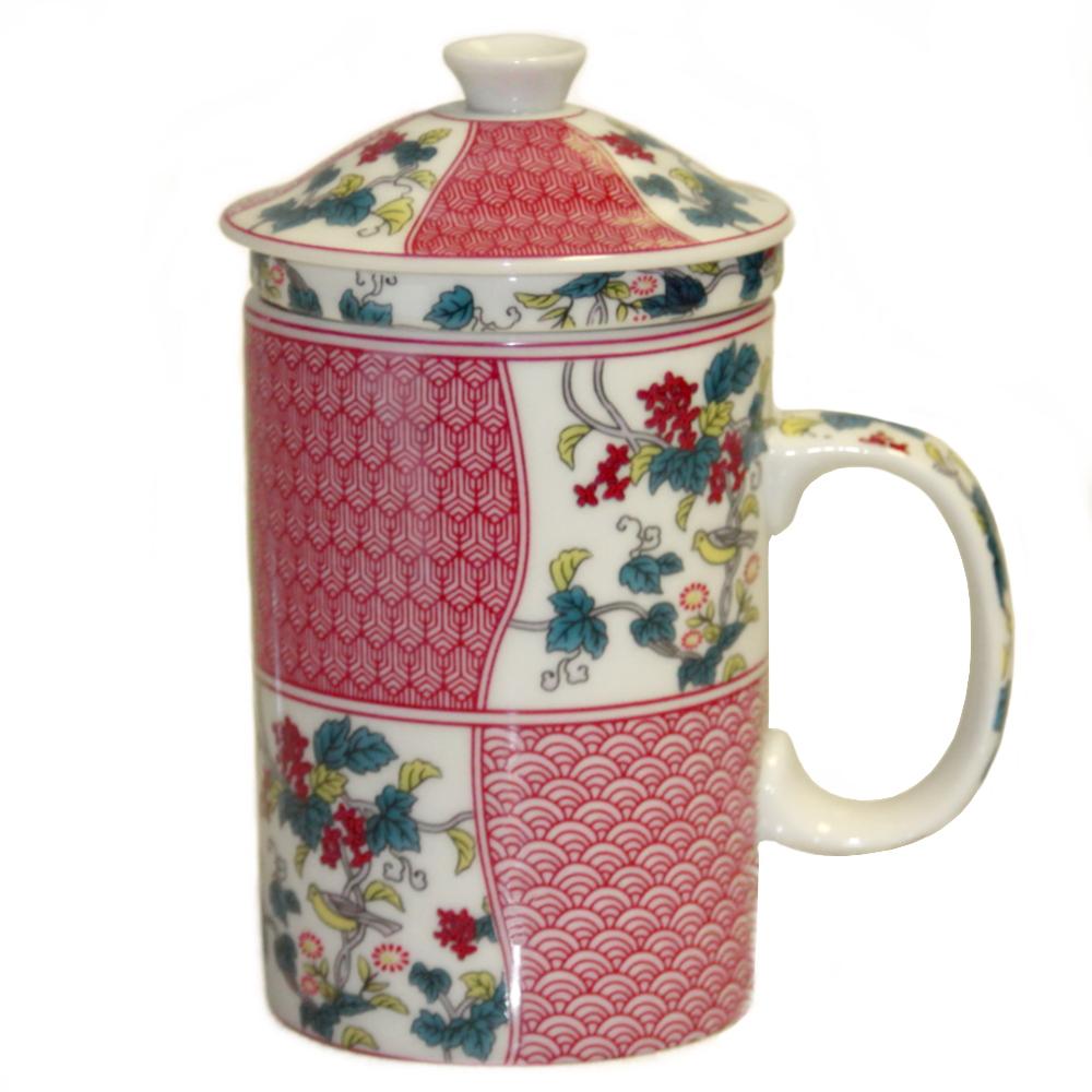 Chinese Longevity White and Red Ceramic Tea Mug and Infuser