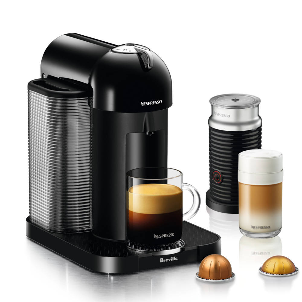 Breville Nespresso Vertuo Black Coffee Machine Bundle with Aeroccino Milk Frother