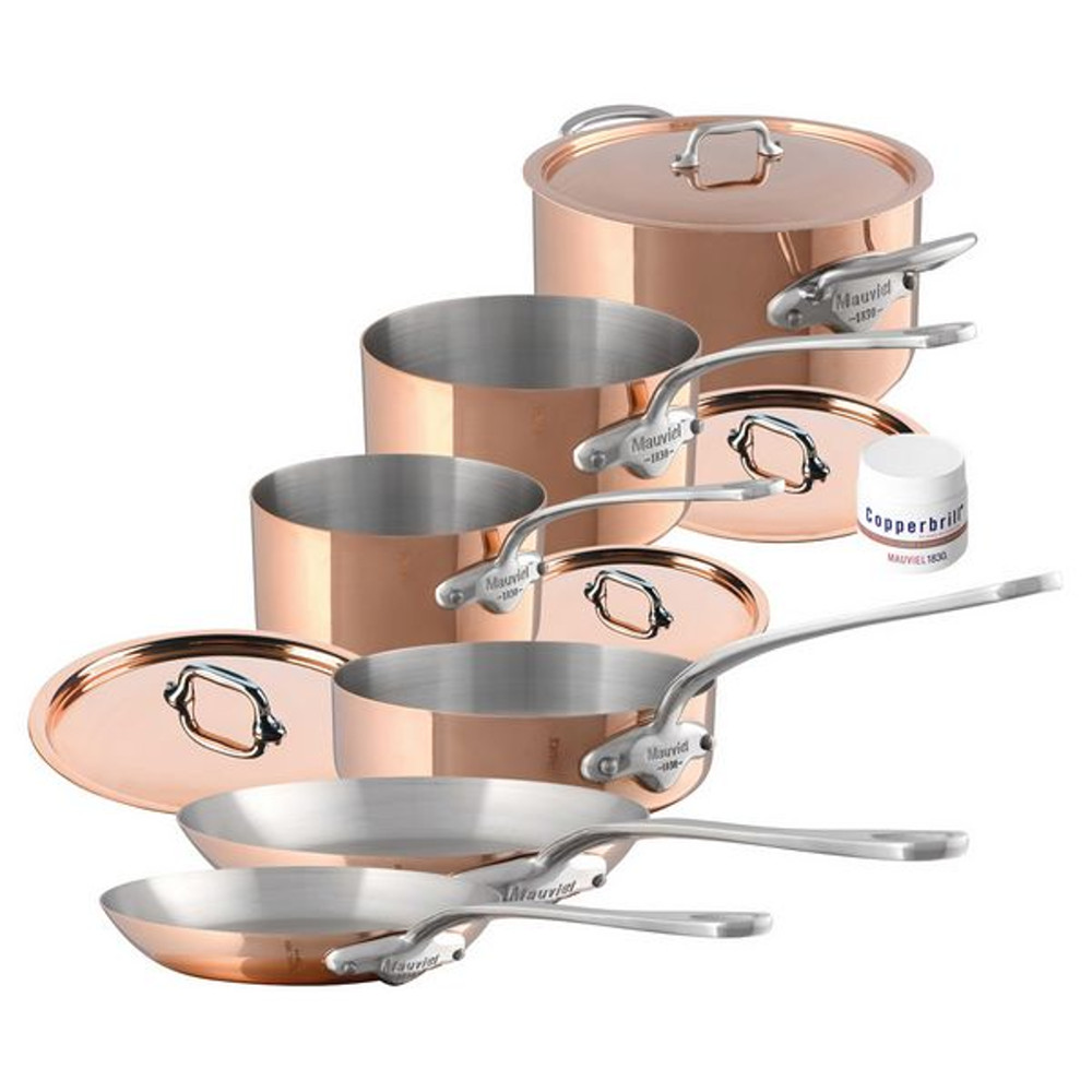 Mauviel M'150s Copper and Stainless Steel 10 Piece Cookware Set