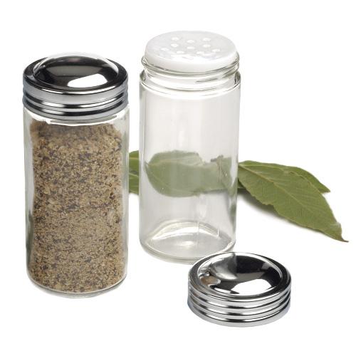 RSVP Clear Glass Spice Jar, Set of 2