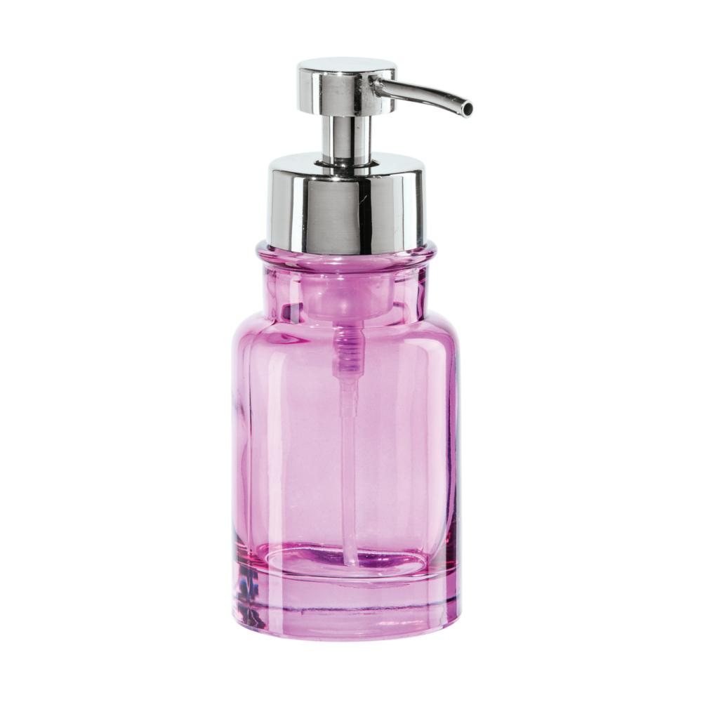 "GLASS ROUND SOAP FOAMER (7"" H, 10 OZ) , PINK"