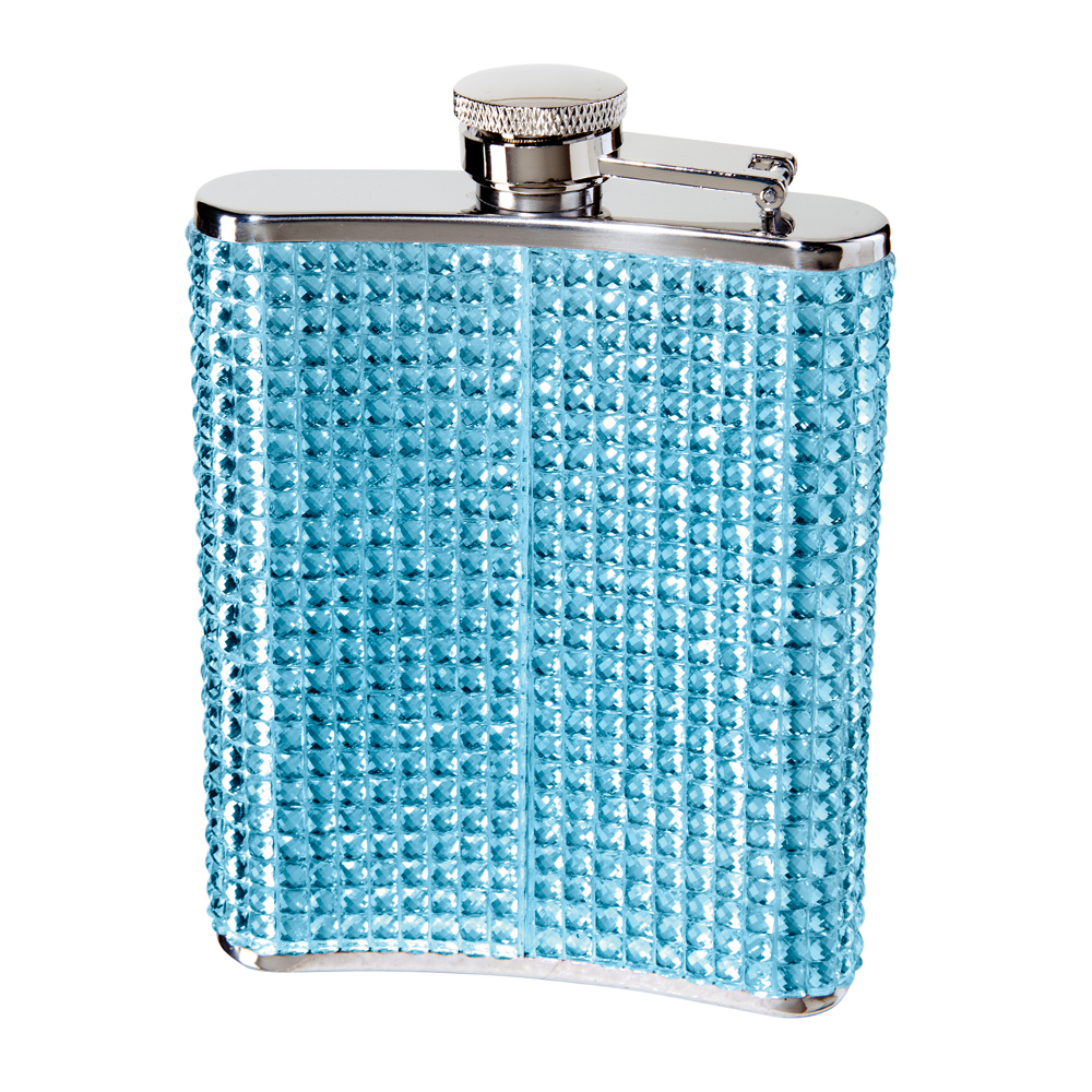 STAINLESS STEEL GLITZ HIP FLASK w/ FILLING FUNNEL (6 OZ) , BLUE FAUX CRYSTAL ON STAINLESS STEEL