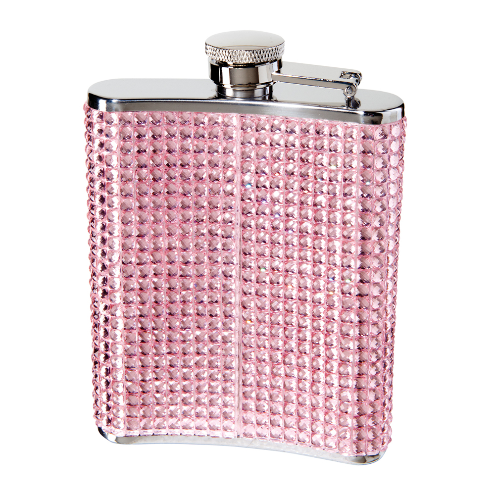 STAINLESS STEEL GLITZ HIP FLASK w/ FILLING FUNNEL (6 OZ) , PINK FAUX CRYSTAL ON STAINLESS STEEL