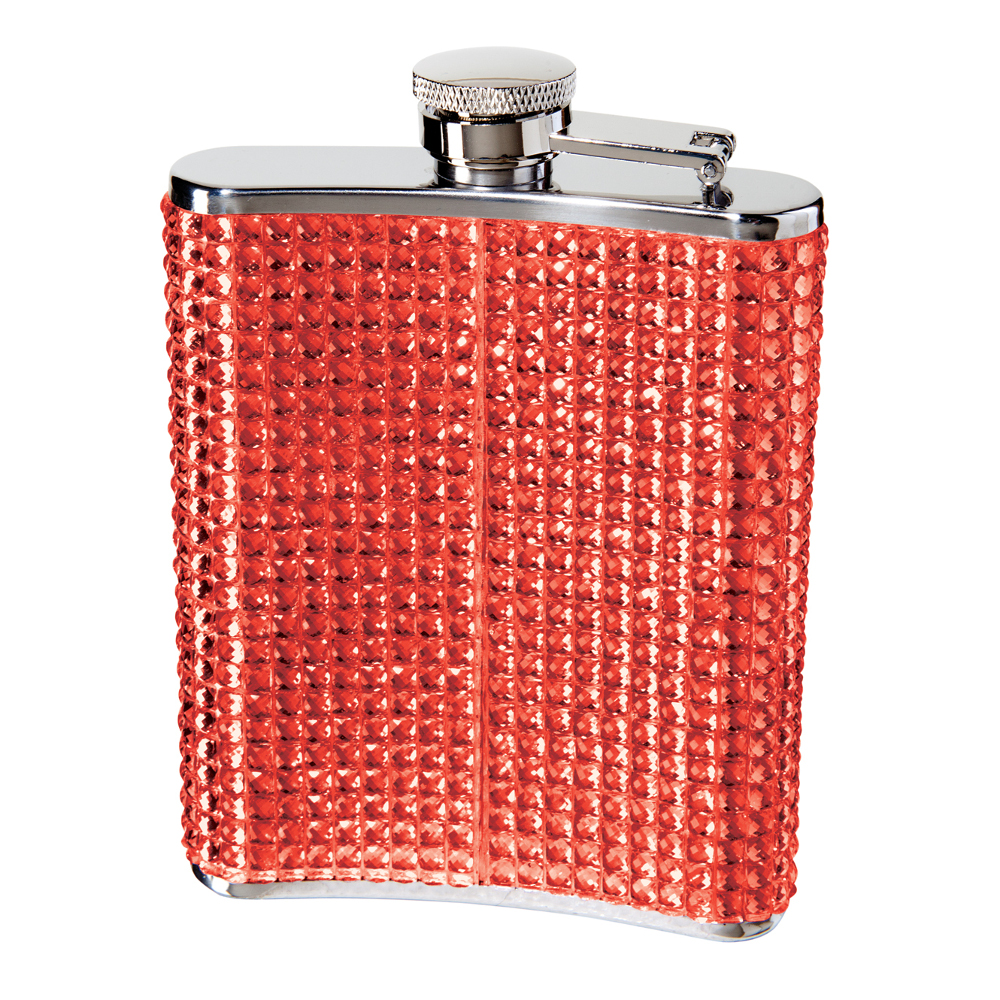 STAINLESS STEEL GLITZ HIP FLASK w/ FILLING FUNNEL (6 OZ) , RED FAUX CRYSTAL ON STAINLESS STEEL