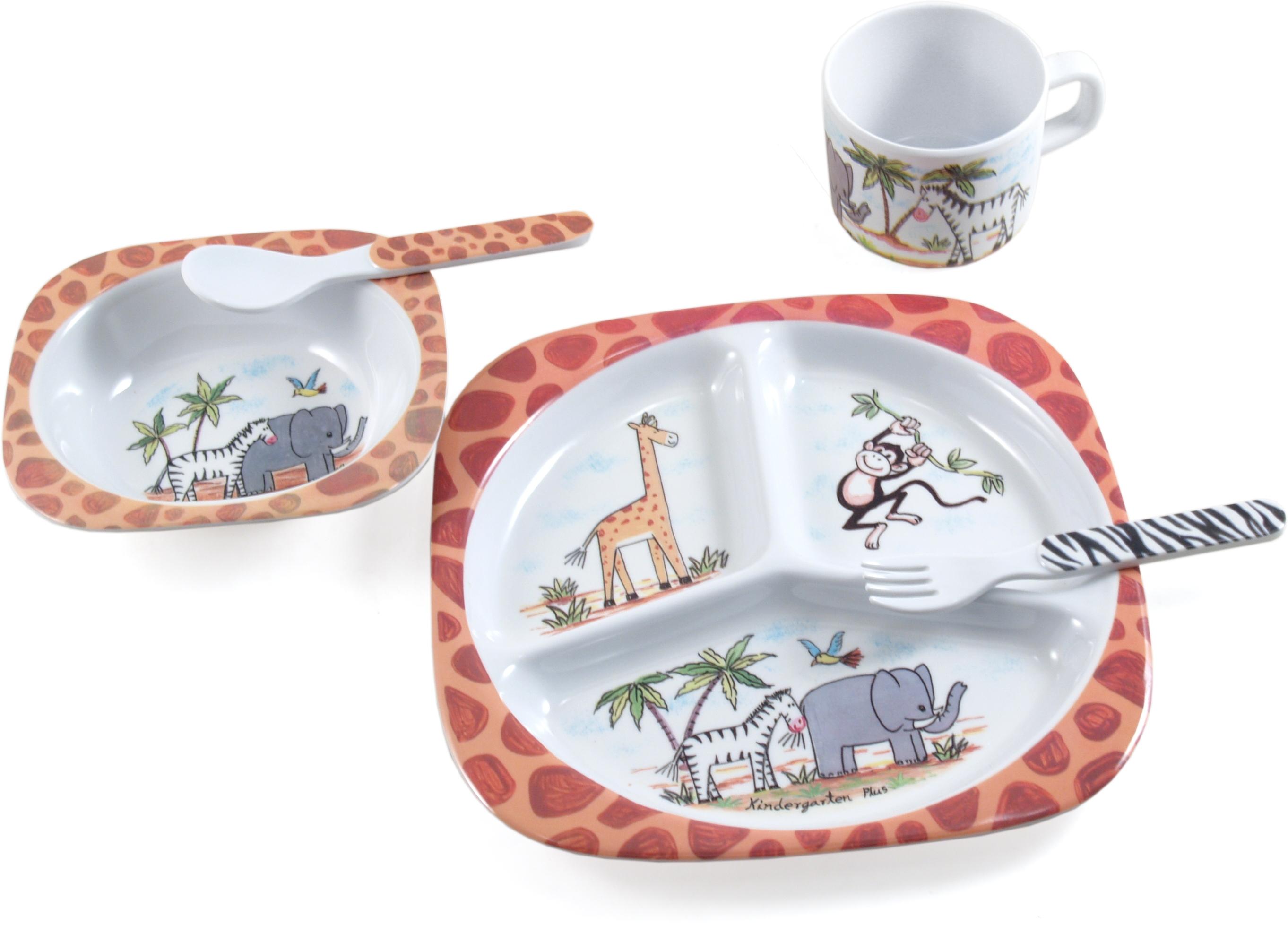 Safari Collection Non-Toxic Melamine Kids' 5 Piece Dish Set