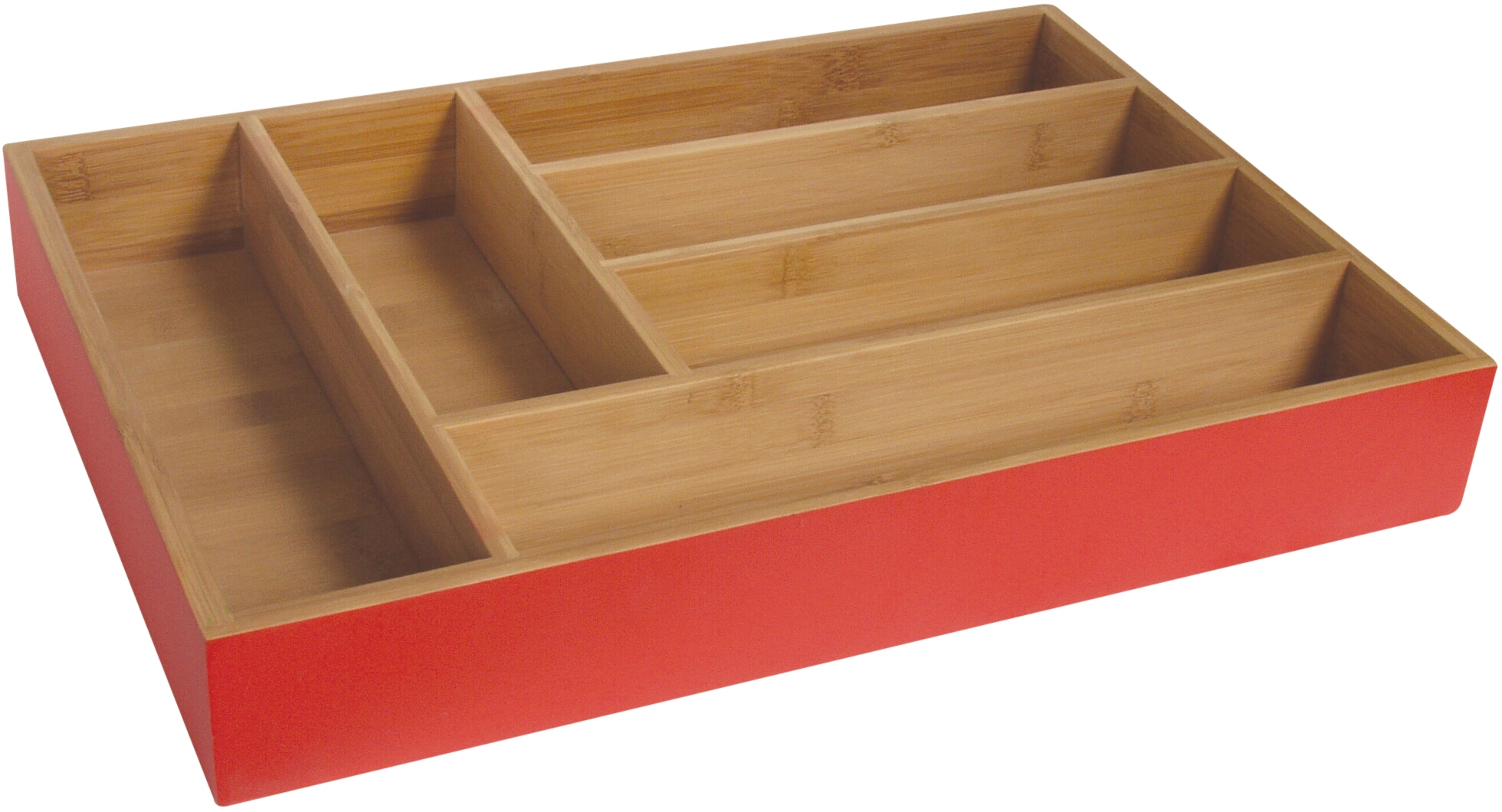 Island Bamboo Hue Red Large Flatware Tray