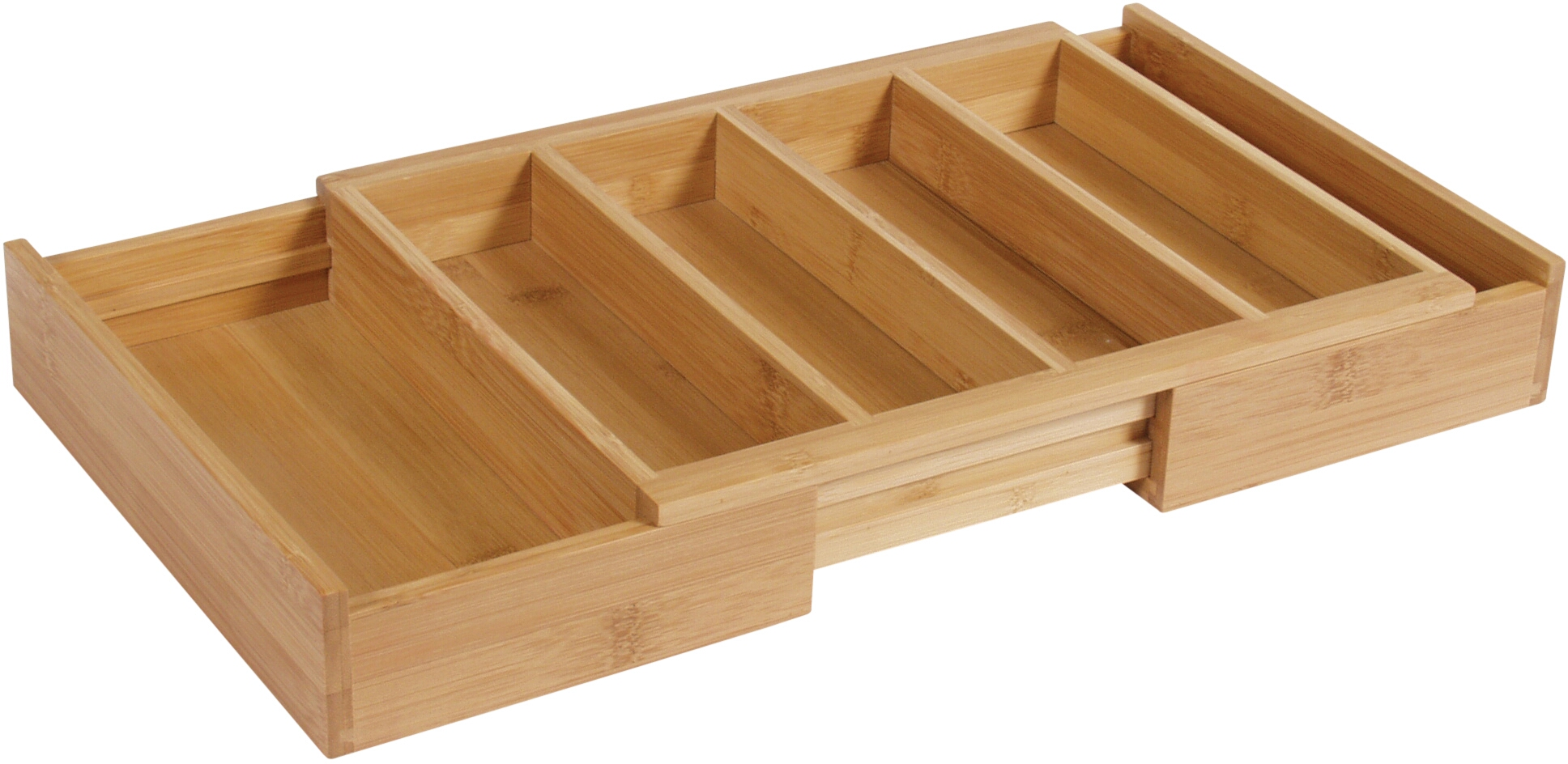 Island Bamboo Large Expanding Flatware Tray, 13 x 13 x 2 Inch
