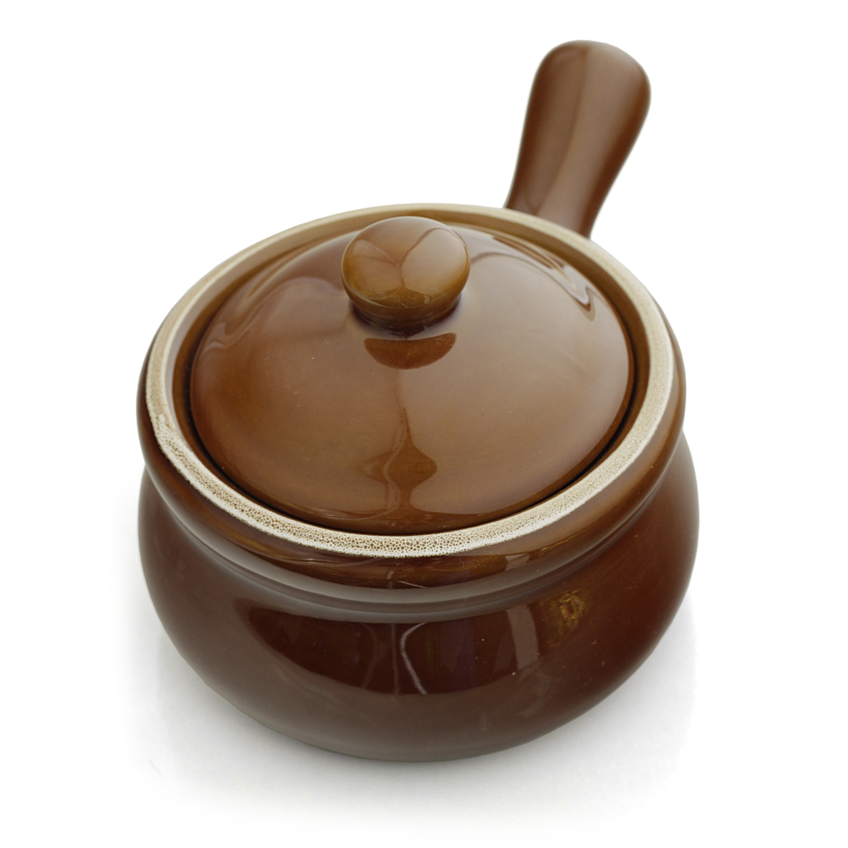 HIC Harold Import Co Ceramic 14 Ounce French Onion Soup Crock with Lid, Set of 4