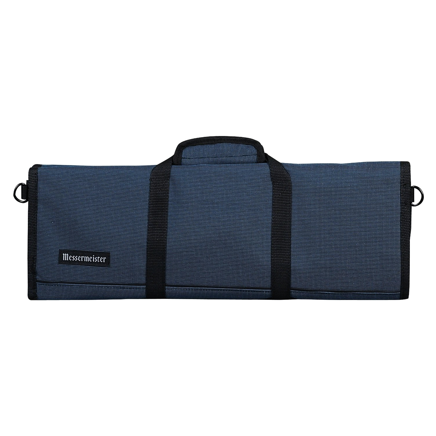 Messermeister Black and Blue Woven Padded 12 Pocket Knife Roll