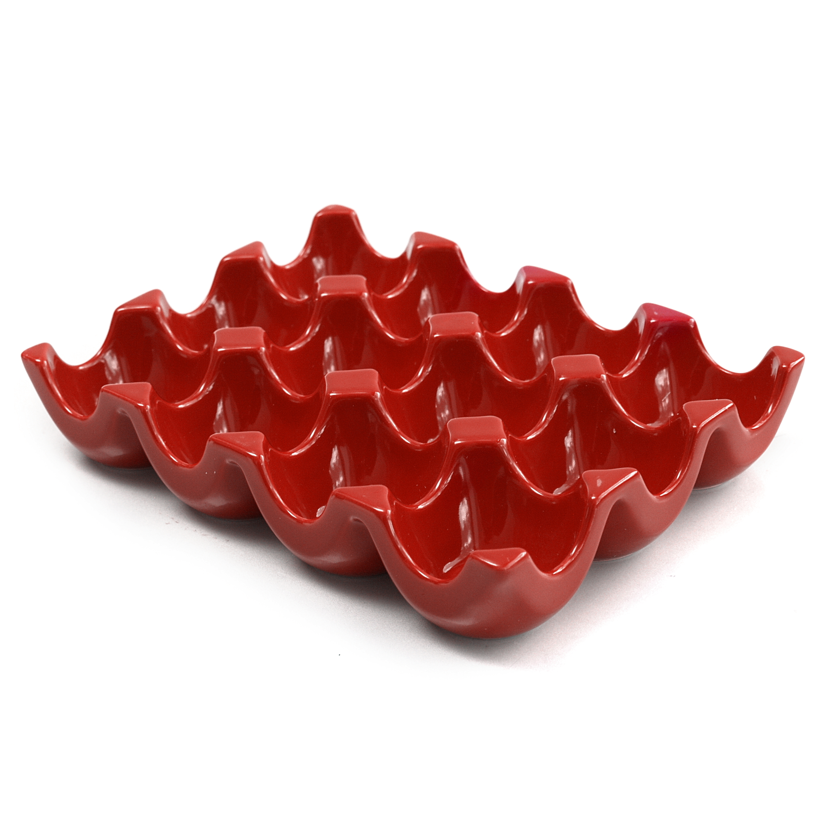 Rachael Ray Sittin' Pretty Red Stoneware 12 Cup Egg Tray