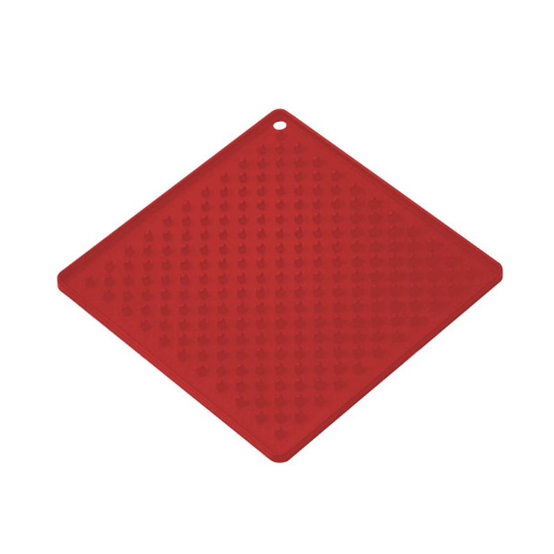 Cook Essentials Cherry Red Silicone Trivet, 7 x 7 Inch