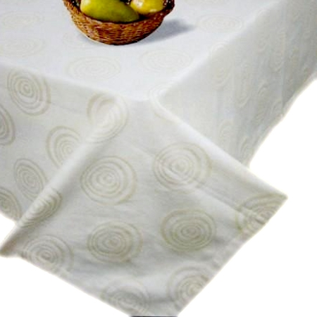 Modern Swirl Ecru 60x84 Oblong Tablecloth
