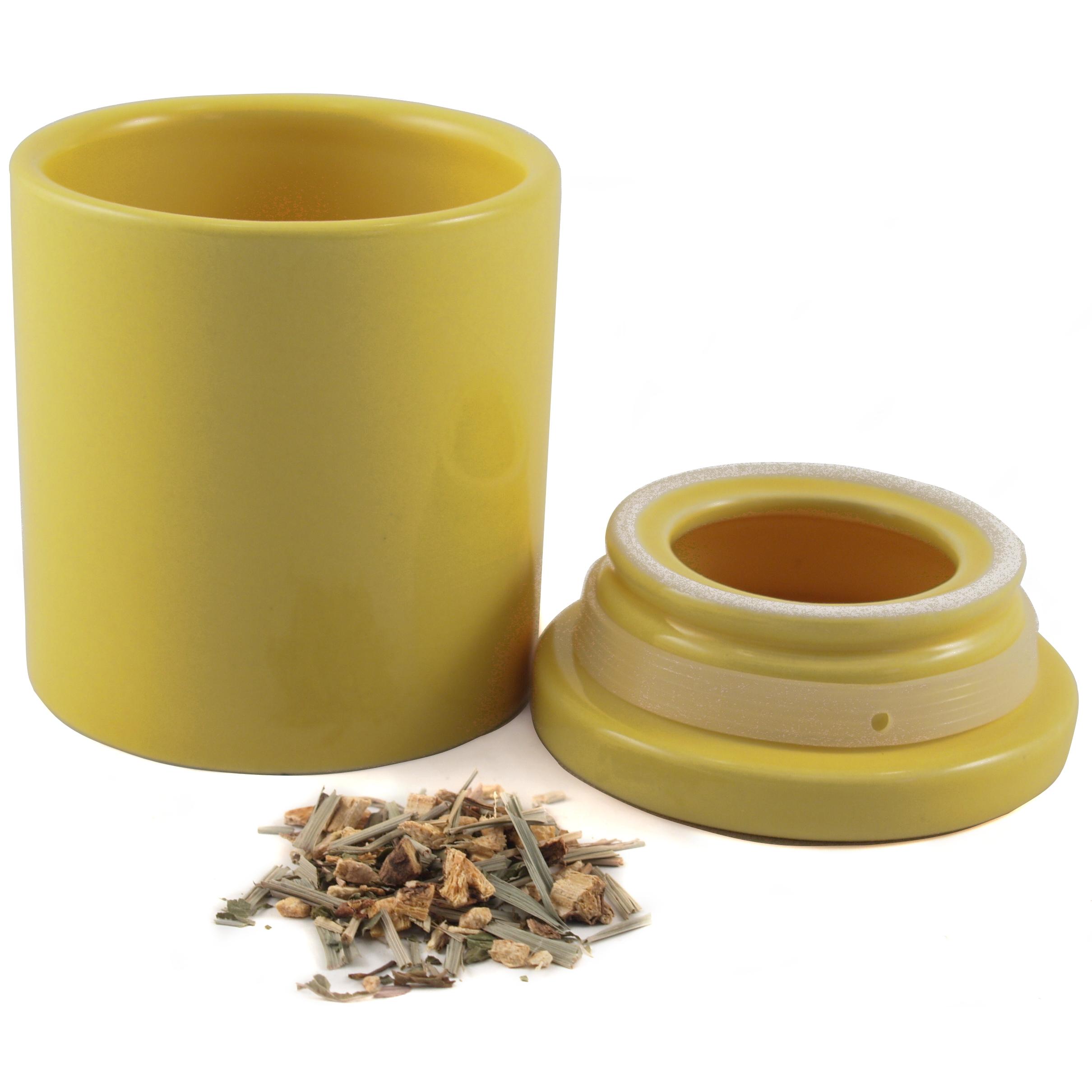 Yellow Ceramic Airtight Tea Canister
