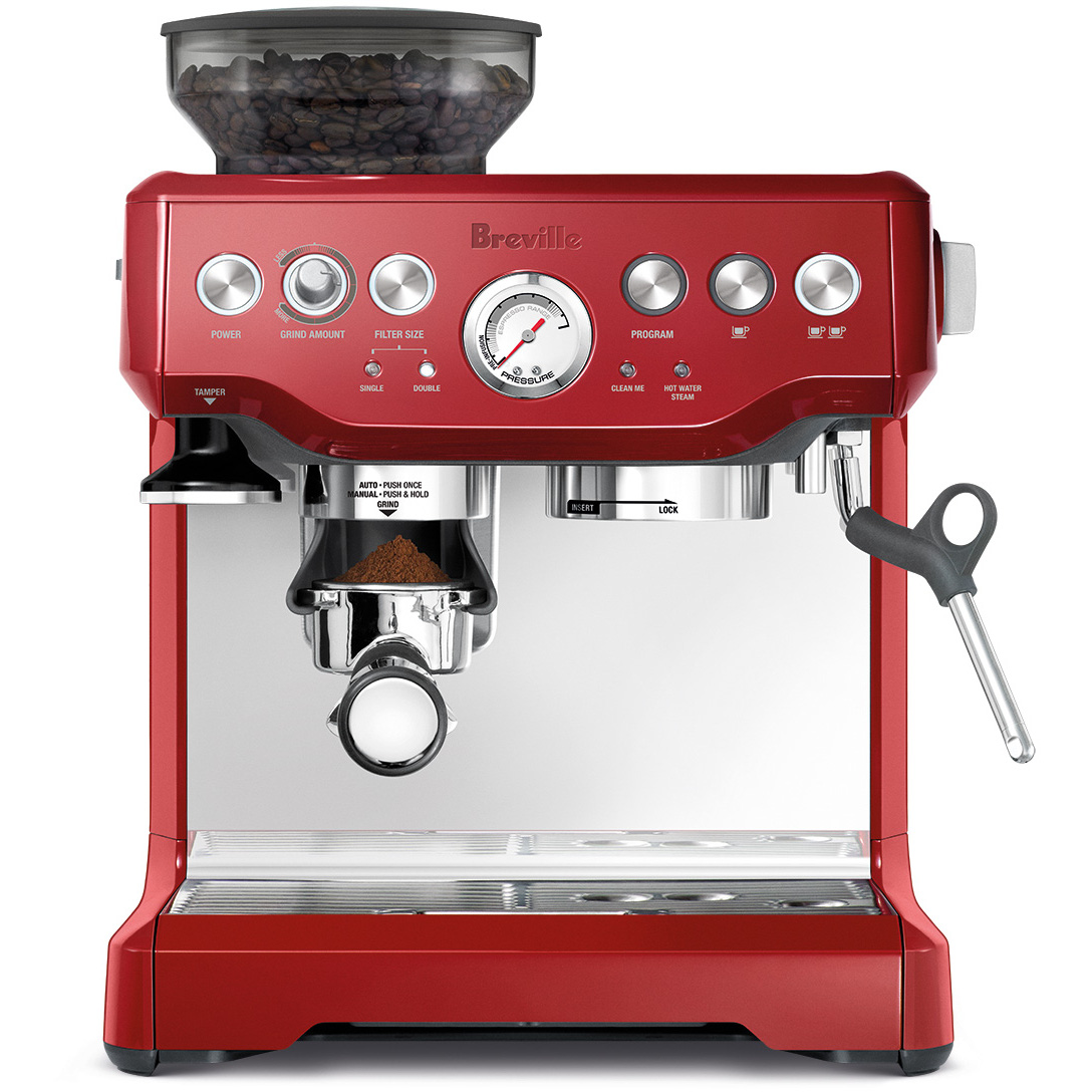 Breville BES870CBXL Barista Express Cranberry Red Stainless Steel Espresso Machine
