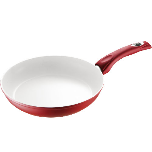 Bialetti Aeternum Collection Red Ceramic and Silicone Saute Pan, 12 Inch