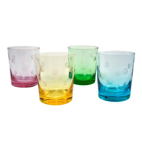 Artland Polka Dot 12 Ounce Double Old Fashioned Glass, Set of 4