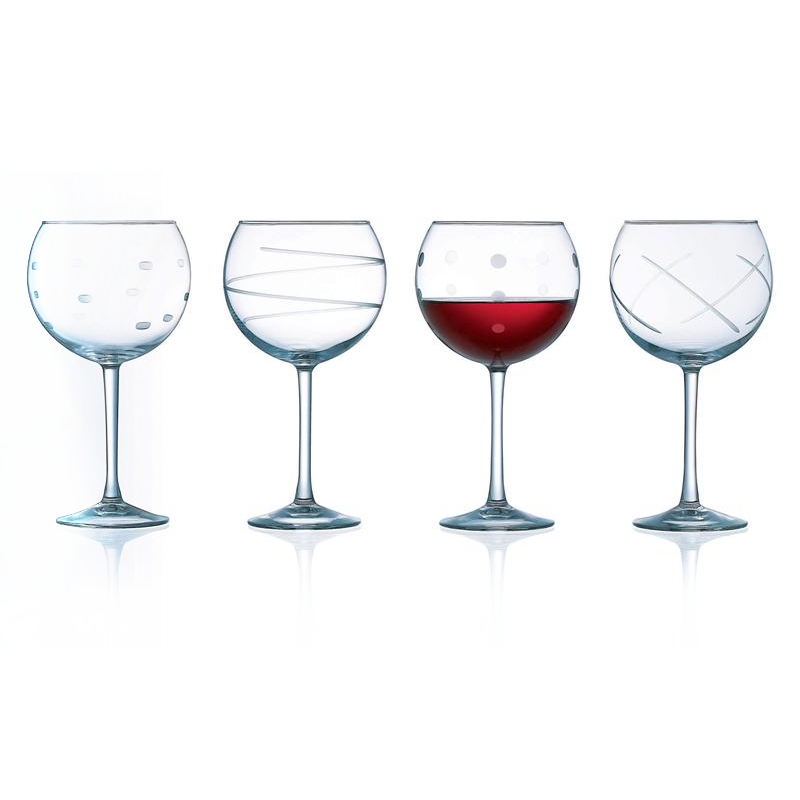 Arc International Soho Assorted Embossed Design Balloon Glassware with Stem, Set of 4