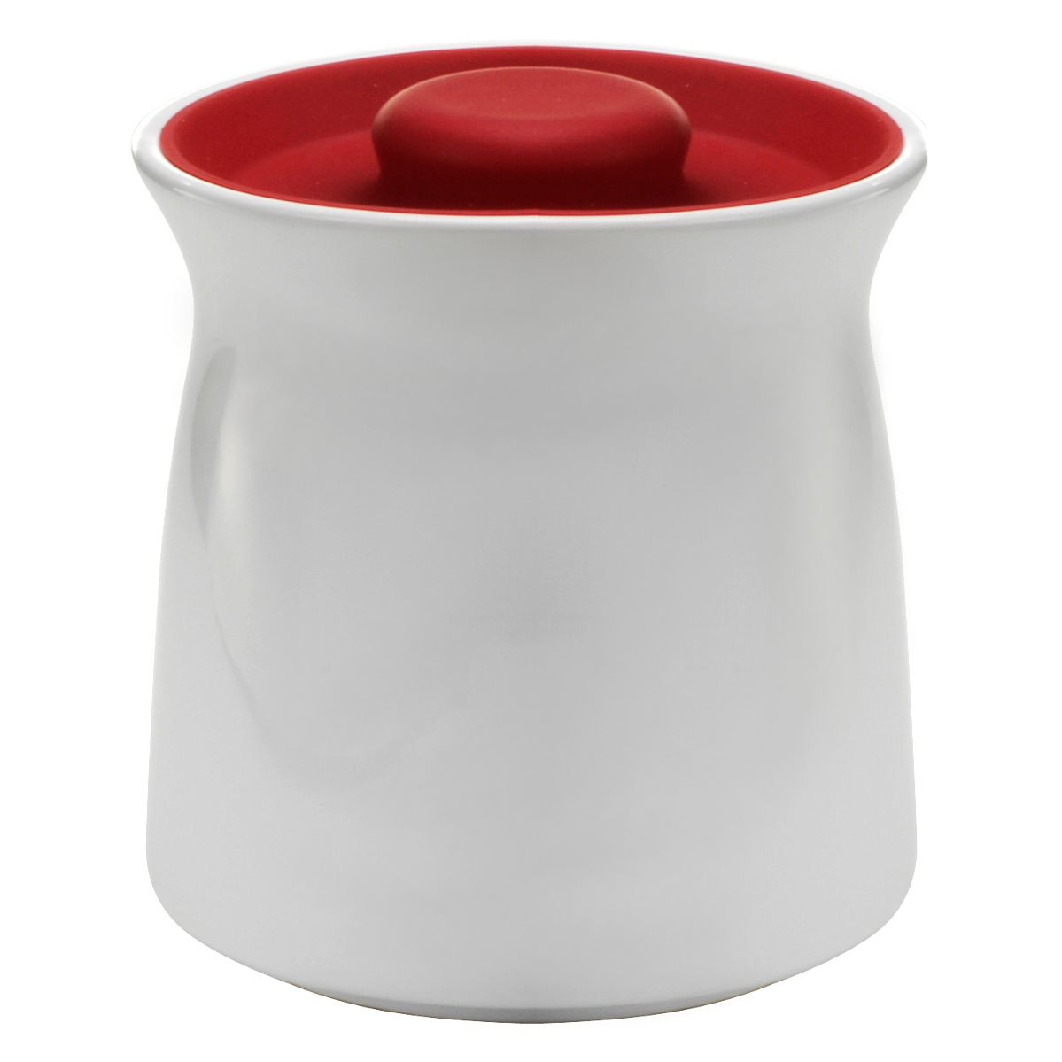 Anchor Hocking Ceramic Studio Canister with Cherry Red Airtight Silicone Lid, 48 Ounce