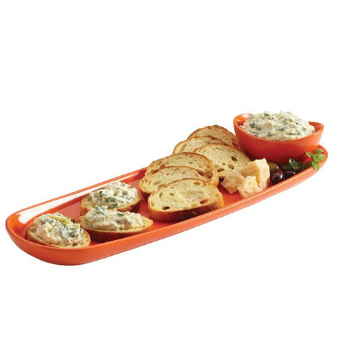 Rachael Ray Orange Stoneware Baguette Tray with Dipping Cup