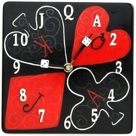 Poker Game Red Black  Analog Wall Clock