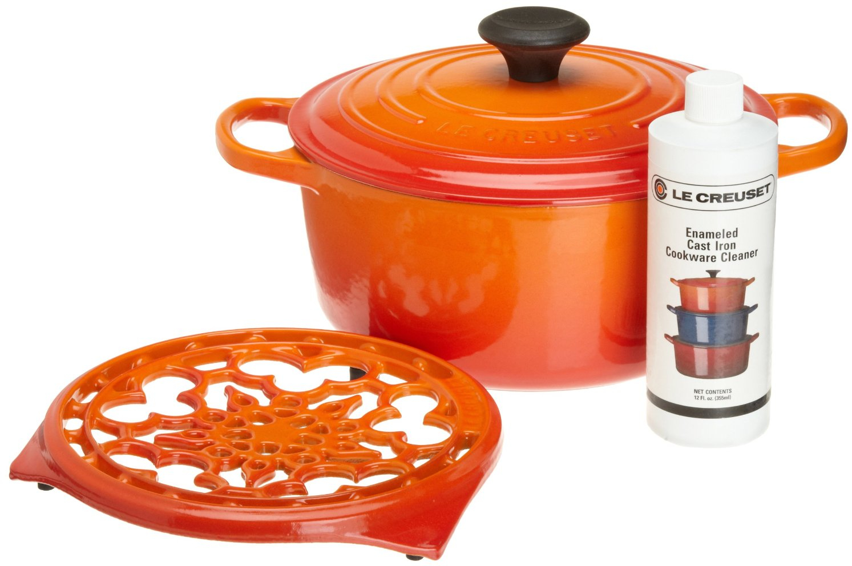 Le Creuset 4 Piece Flame Cast Iron Cookware Gift Set