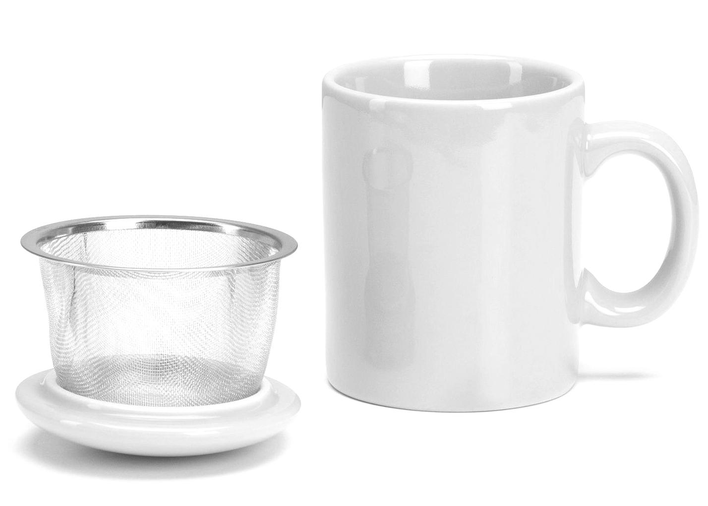 Omniware White Ceramic Infuser Tea Mug with Lid