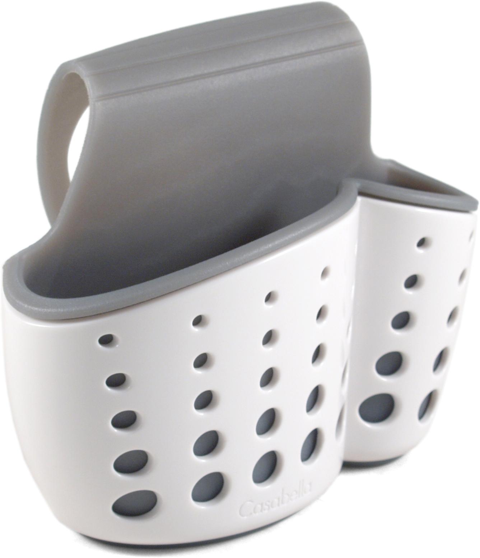 Casabella Sink Sider White Faucet Sponge Holder with Gray Liner