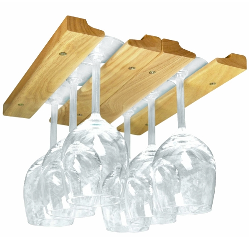 Natural Hardwood Hanging Wine Glass Rack