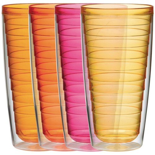Hot Colors Large 24 Ounce Insulated Tumblers - Set of 4