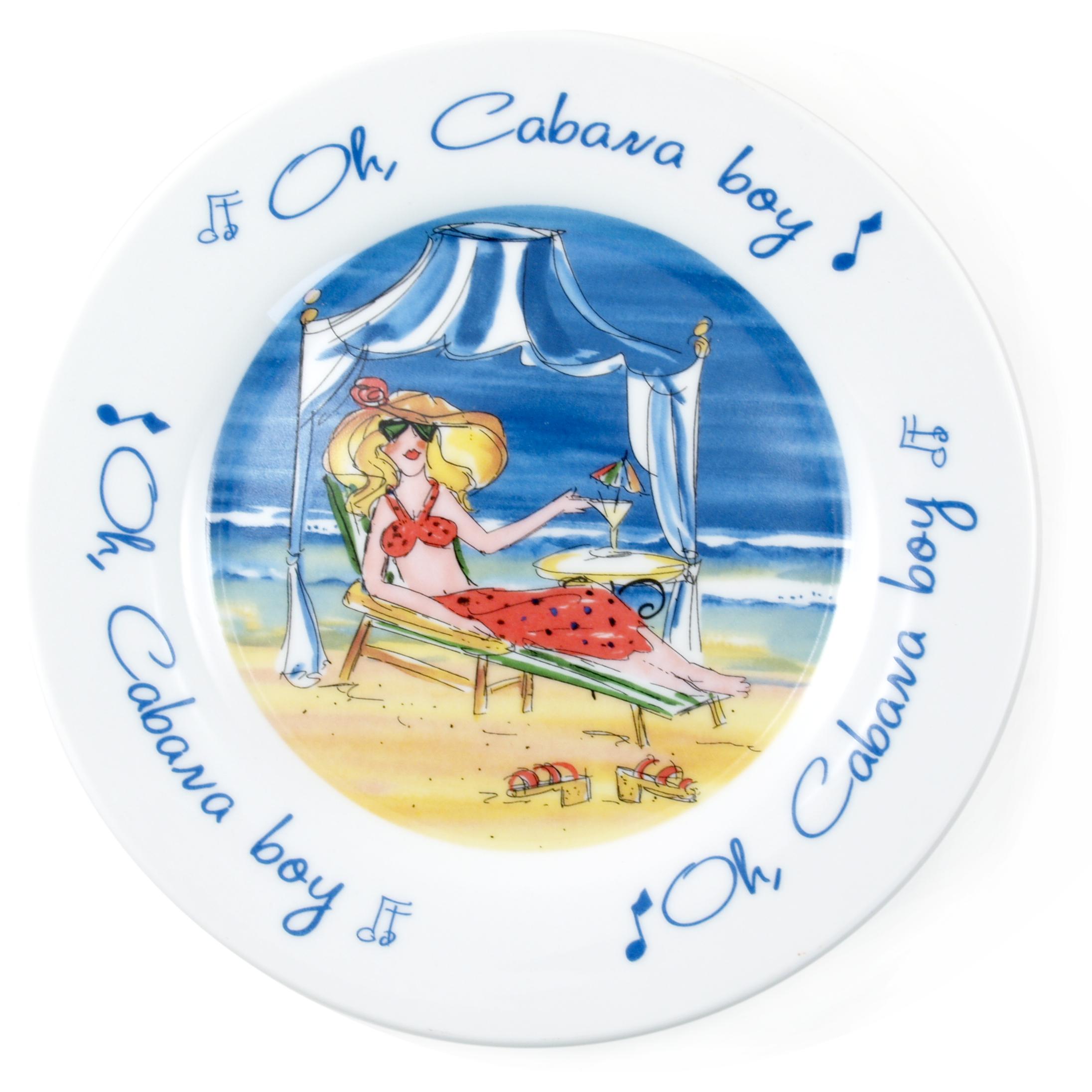 Oh Cabana Boy Ceramic Dessert Plate Set of 4