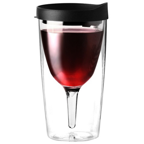 Vino2Go Business Black Acrylic Insulated Wine Tumbler with Slide Lid, 10 Ounce
