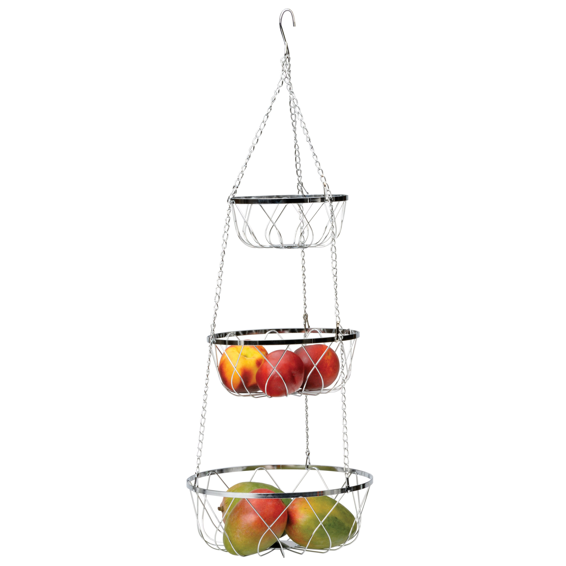 RSVP 3-Tier Hanging Fancy Chrome Wire Fruit Basket