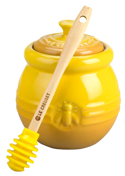Le Creuset Dijon Stoneware Honey Pot With Silicone Honey Dipper 16 Ounce