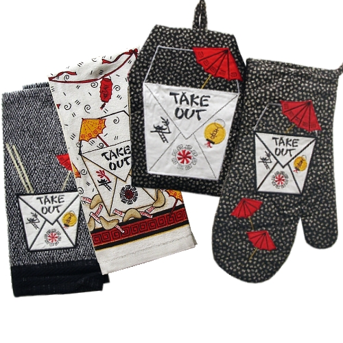 Chinese Take Out Kitchen Towel Oven Mitt Pot Holder SET