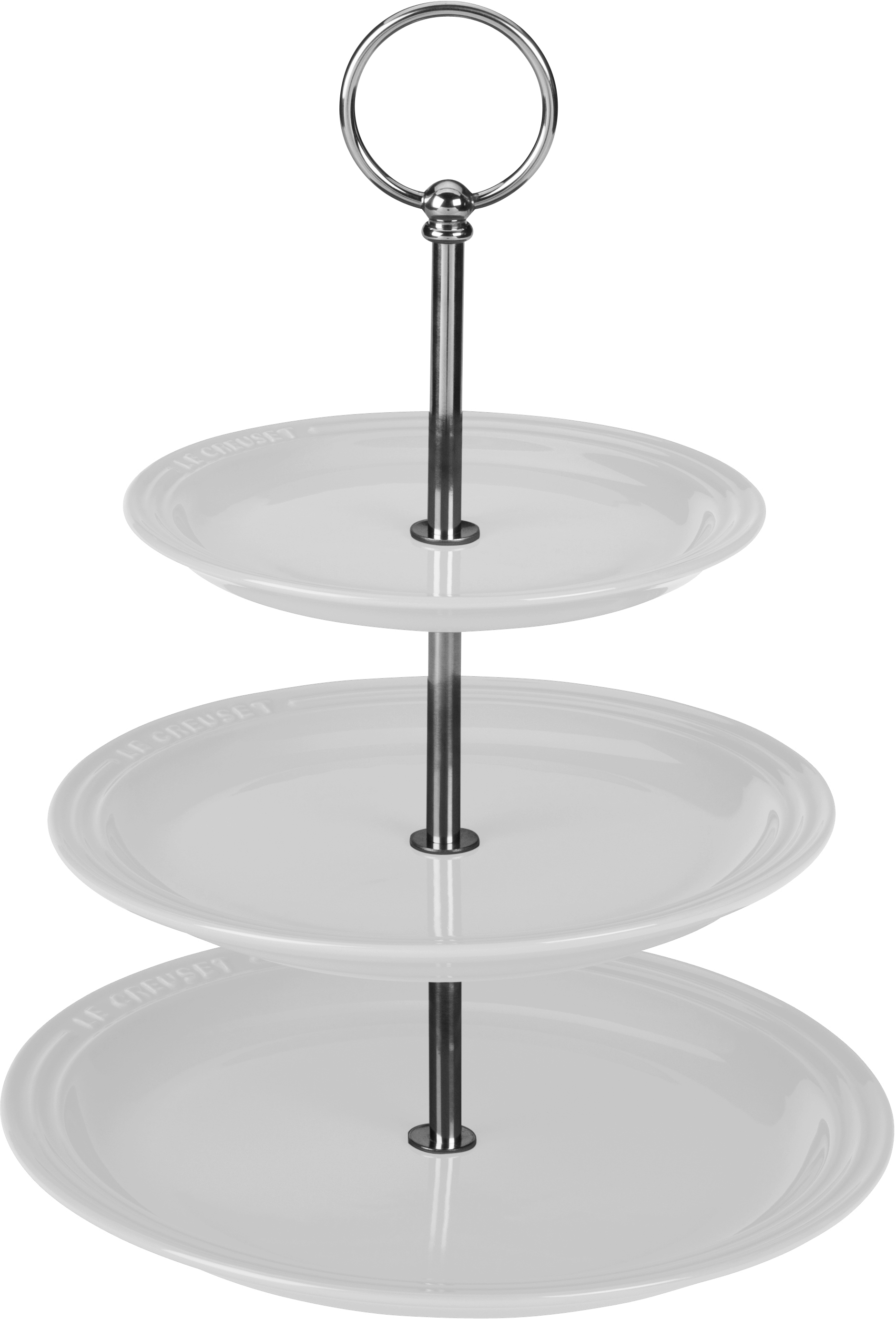 Le Creuset White Stoneware 14.5 Inch 3-Tiered Serving Stand