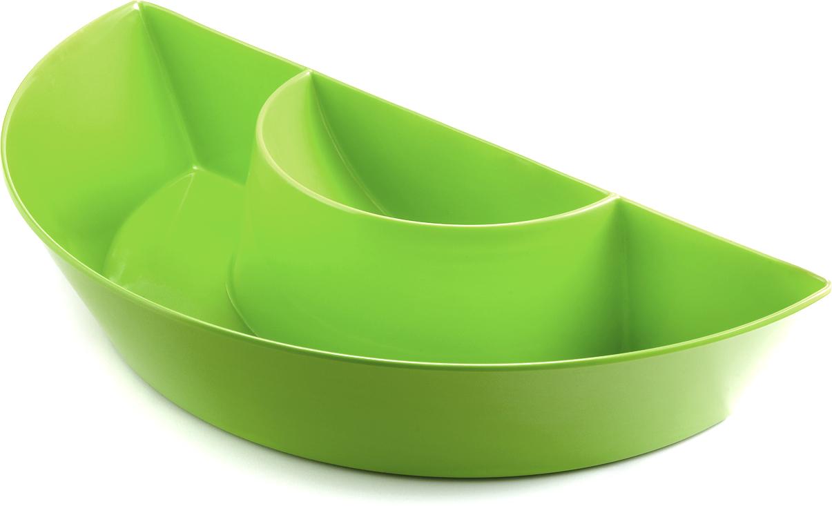 Outset Citrus Green Melamine Double Dipper Serving Platter