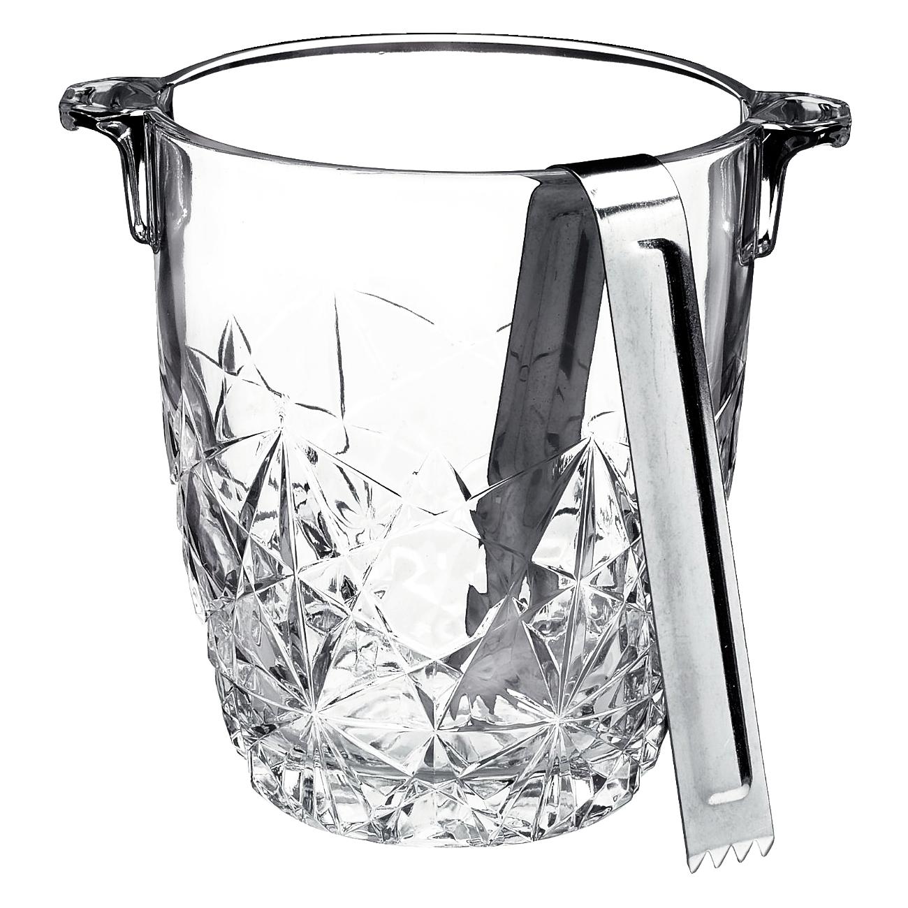 Bormioli Rocco Dedalo 31.5 Ounce Glass Ice Bucket with Tongs