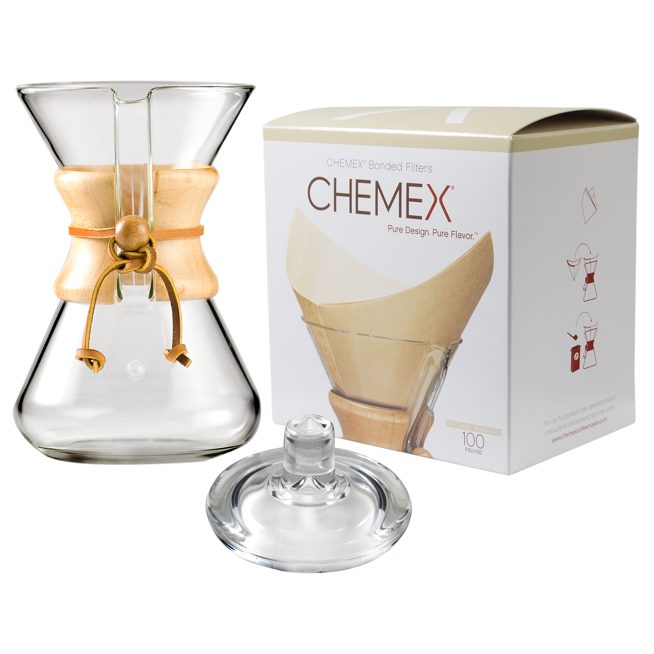 Chemex Wood Collar and Tie Glass 30 Ounce Coffee Maker with Cover and 100 Count Bonded Unbleached Pre-Folded Square Coffee Filters