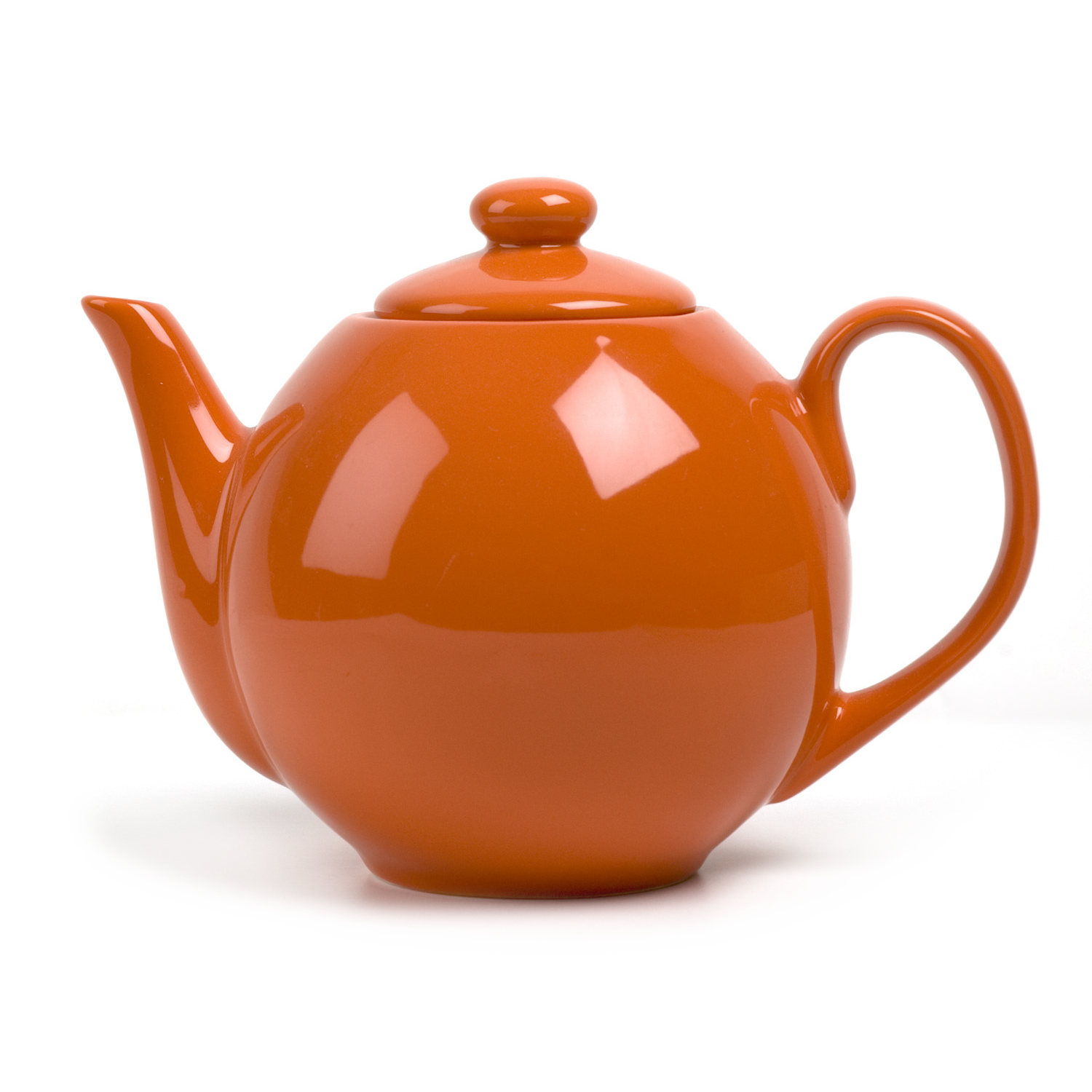 OmniWare Teaz Orange Stoneware Lillkin 34 Ounce Teapot with Stainless Steel Mesh Infuser