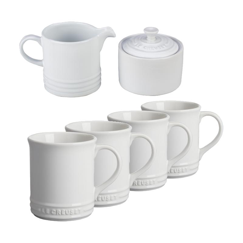 Le Creuset White Stoneware 6 Piece Coffee or Tea Service Set with Mugs and Cream & Sugar Set