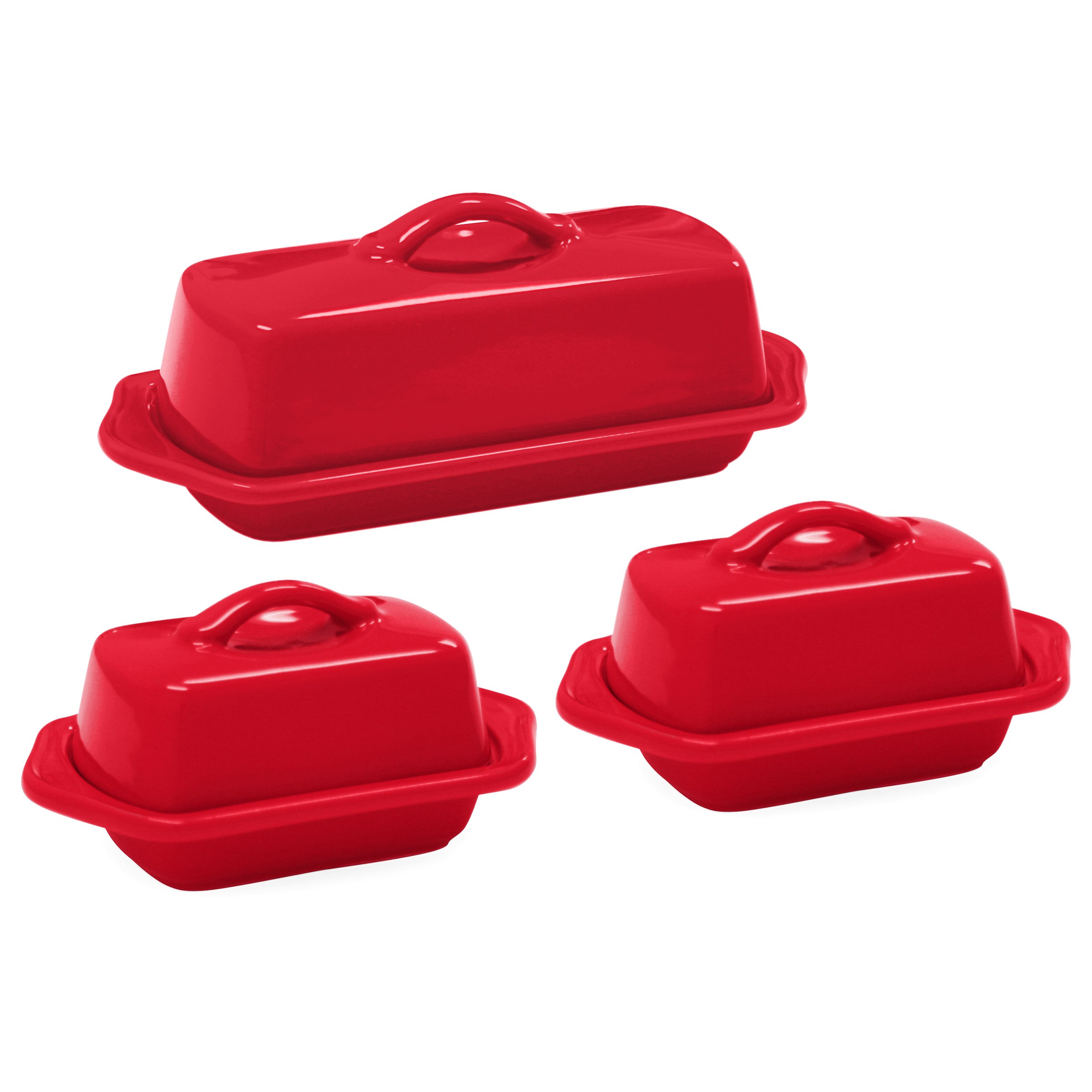 Chantal True Red Stoneware 3 Piece Traditional and Mini Butter Dish Set