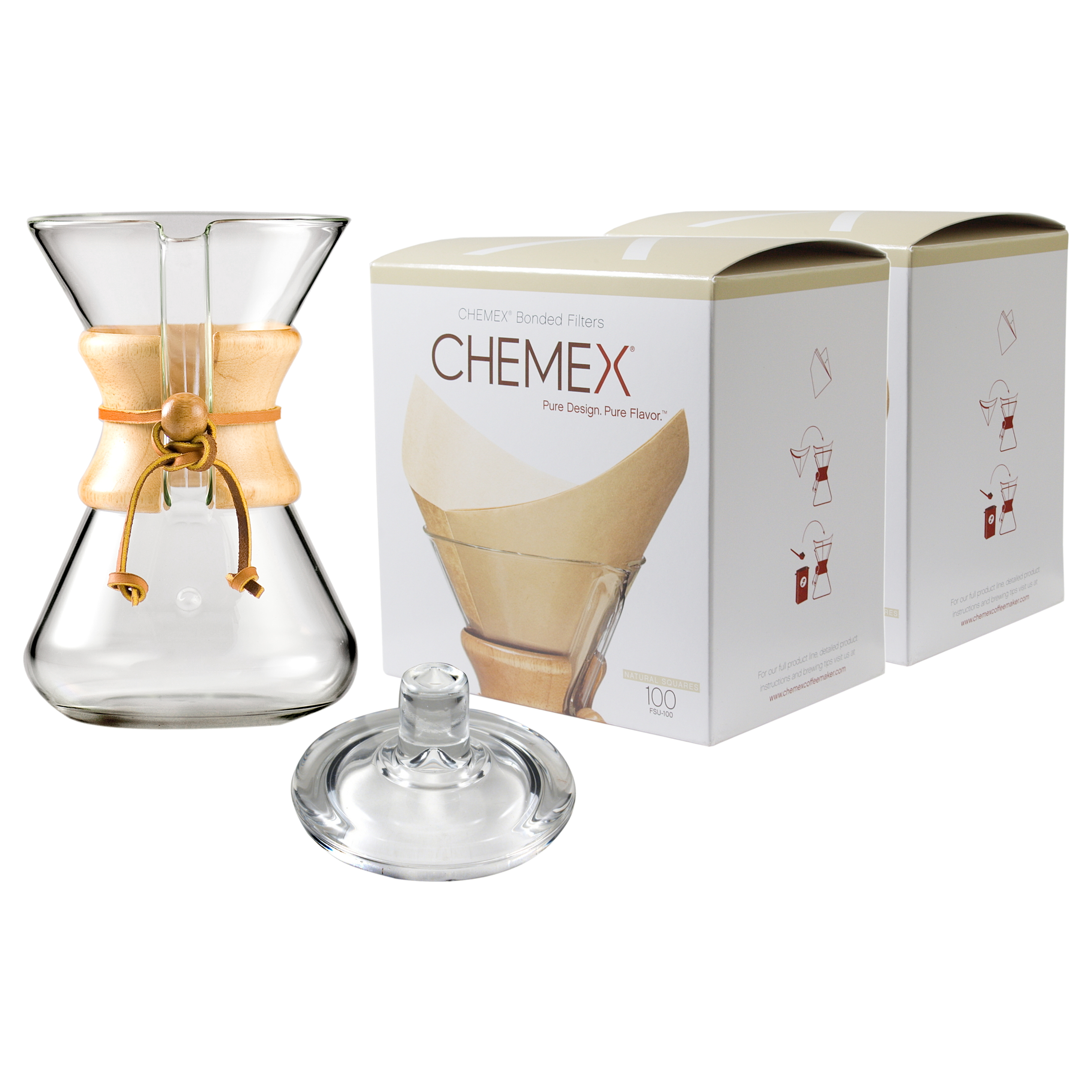 Chemex Wood Collar and Tie Glass 30 Ounce Coffee Maker with Cover and 200 Count Bonded Unbleached Pre-Folded Square Coffee Filters