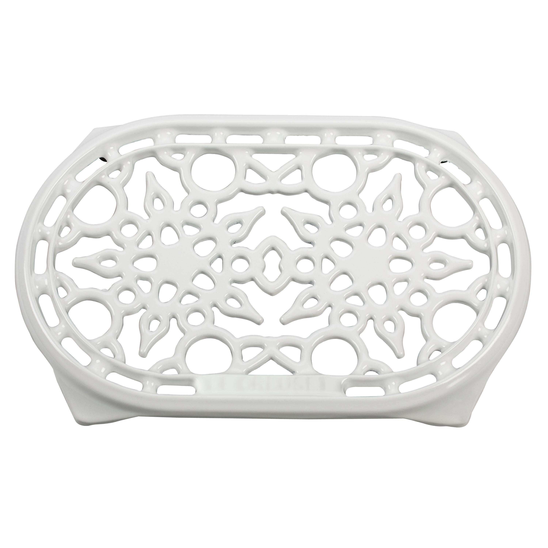 Le Creuset White Enameled Cast Iron 10.5 Inch Oval Trivet