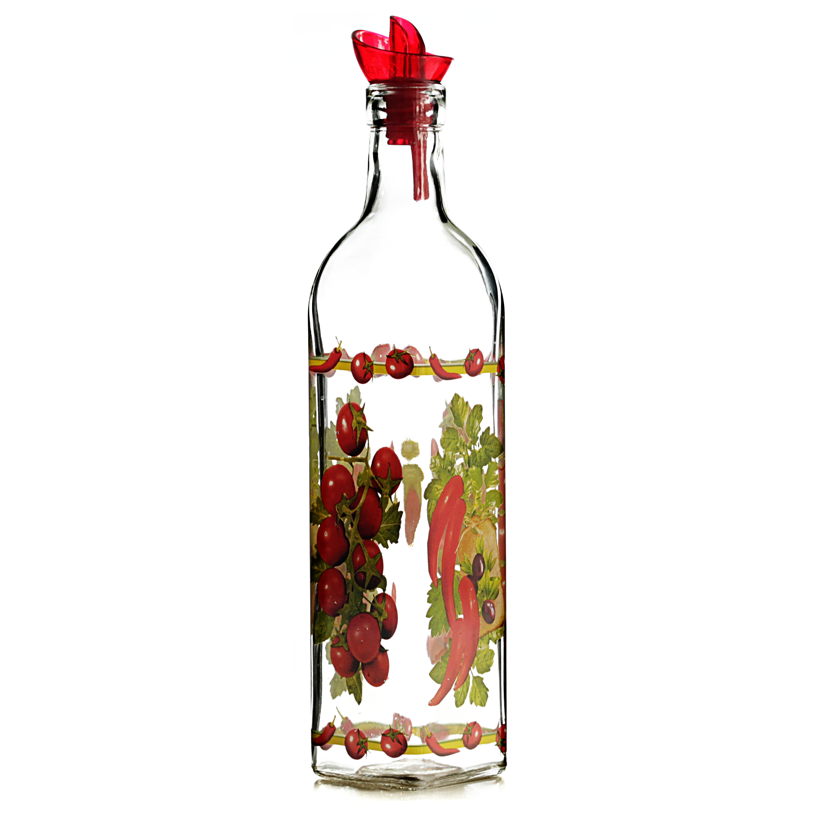 Grant Howard Ergo Pourer Country Veggies Glass Oil and Vinegar 16 Ounce Cruet